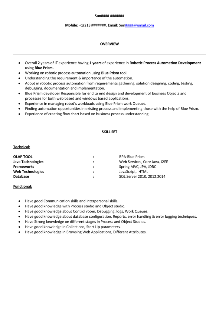 RPA Blueprism Sample Resume